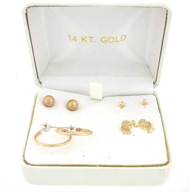 Baby Gift Gold : Pc k yellow gold baby earring set in gift box pairs