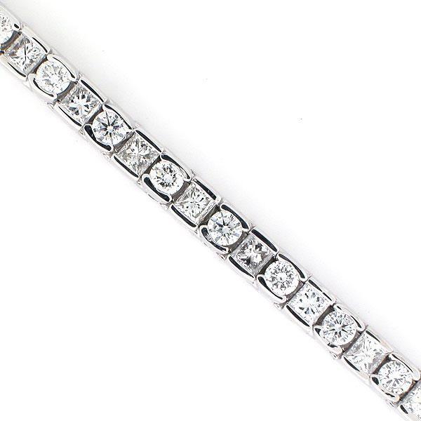 14k White Gold Diamond Tennis Bracelet 6 94 TCW Round and Princess