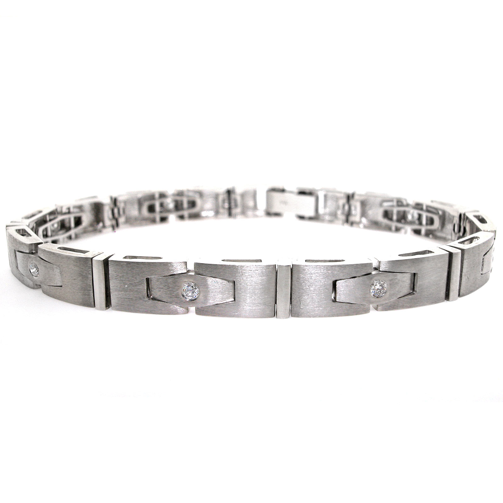 White Gold Men S Diamond Bracelet 0 67 Cts Mens 30 3g