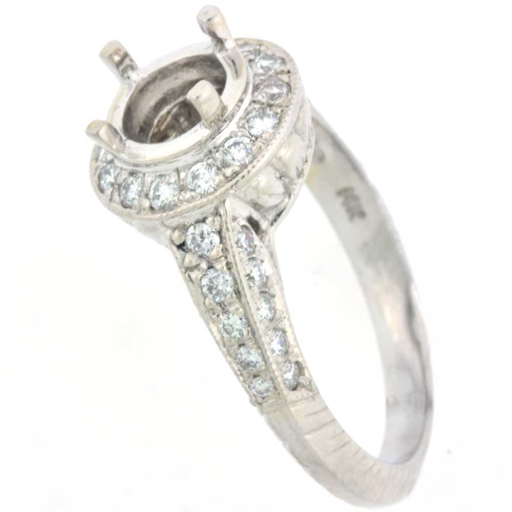 0 72 cts antique style semi mount engagement ring