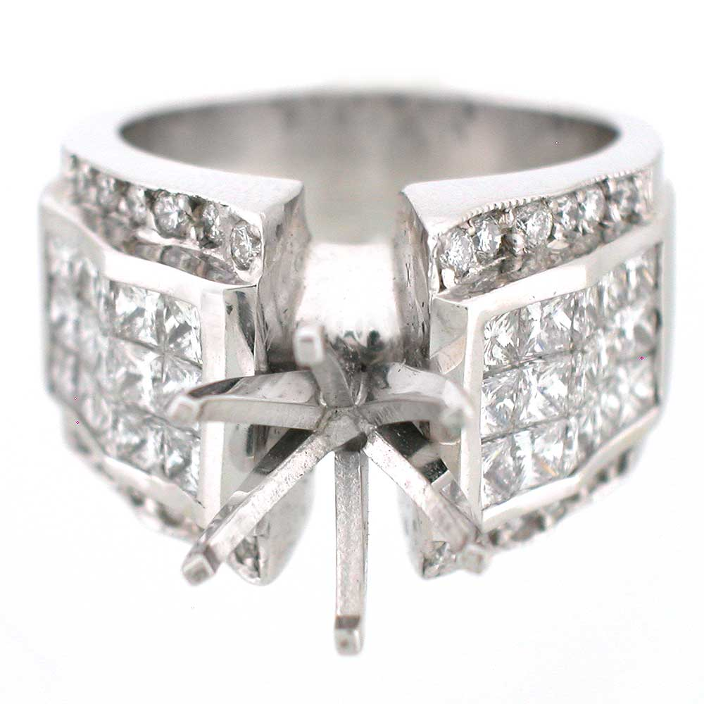 2 85 Ctw Semi Mount Diamond Ring Setting 14k White Gold