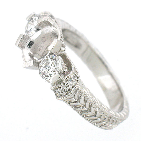 14K Antique Style 3 Stone Diamond Engagement Ring Setting 0 82 Cts Oval