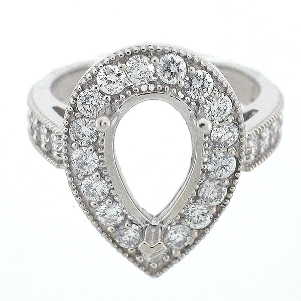 14k White Gold Pear Halo Diamond Ring Setting 1 43 Carats Pear Shaped Mounti