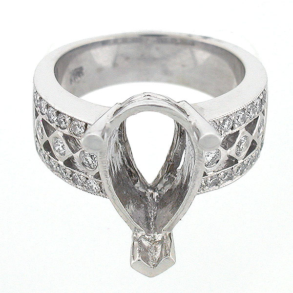 14K Vintage Style Semi Mount Diamond Ring 0 67 Carats Pear Shaped Setting