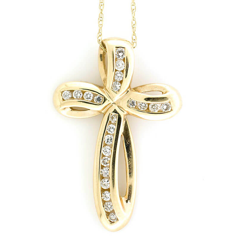 14k Yellow Gold Diamond Cross Pendant 0 25 cts with 14k 18 Solid Gold