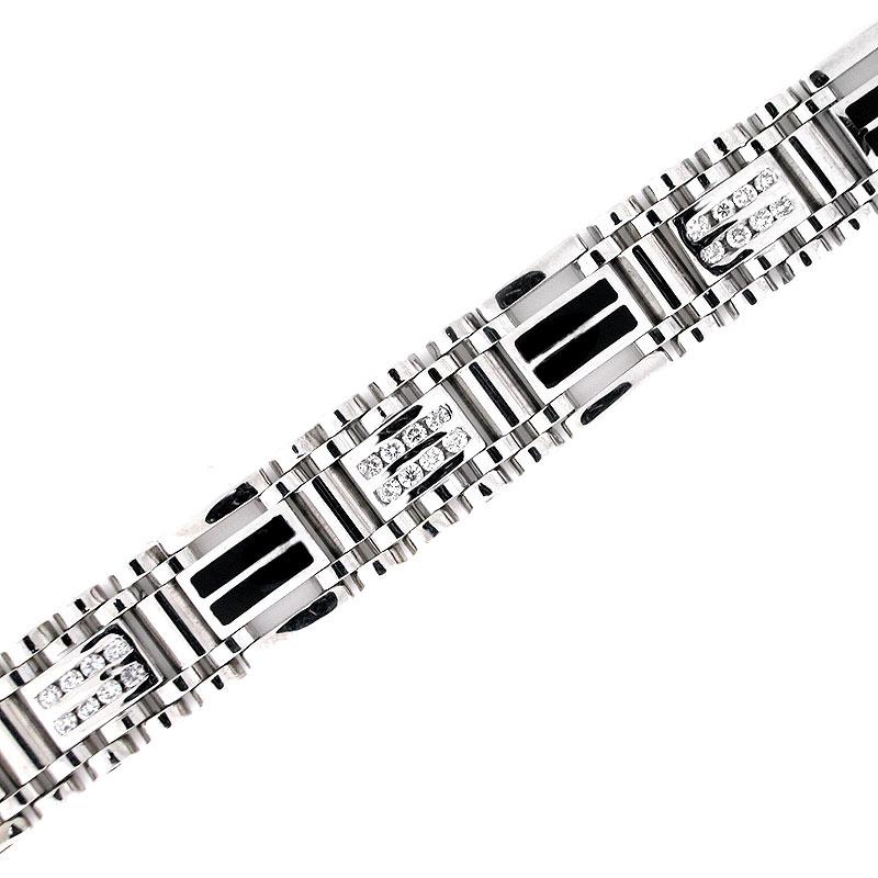 14k Gold Men S Onyx Diamond Bracelet 1 97 Cts Mens Black