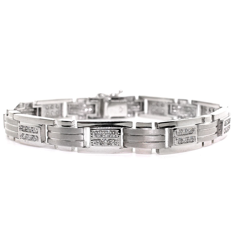 This Mens Diamond Bracelet Is Crafted Out Of Solid 14k White Gold With A Brushed Finish And Features Round Brilliant Diamonds