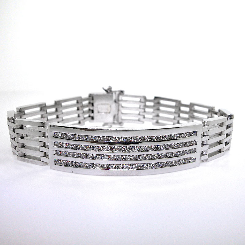 14k White Gold Men S Diamond Id Bracelet 3 07 Cts Mens 61 1 G Ebay