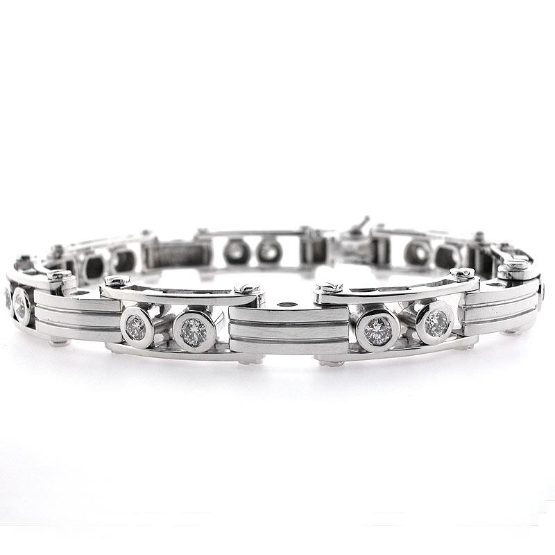 Details About 14k White Gold Men S Diamond Bracelet 2 83 Cts Mens