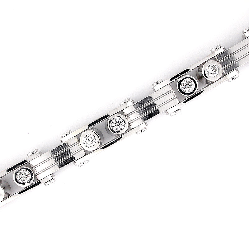 5075484bf1e This mens diamond bracelet is crafted out of solid 14k white gold features  round brilliant diamonds. Mens Diamond Bracelet - White Gold Men s Bracelet-  Mens ...