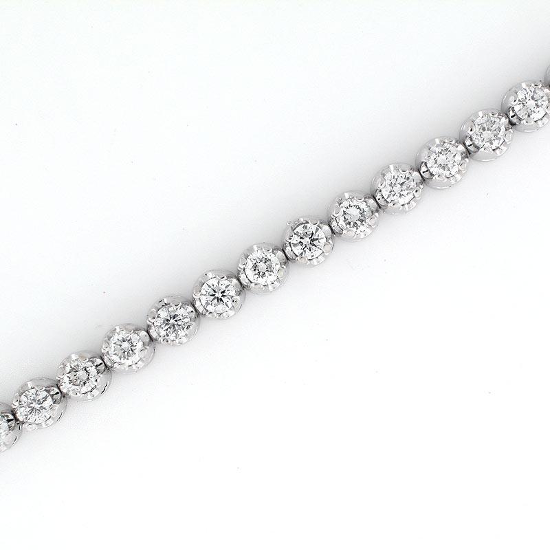 Rubyshire 14K White Gold Finish Round Cut Diamond Tennis Bracelet 0.80 Cts