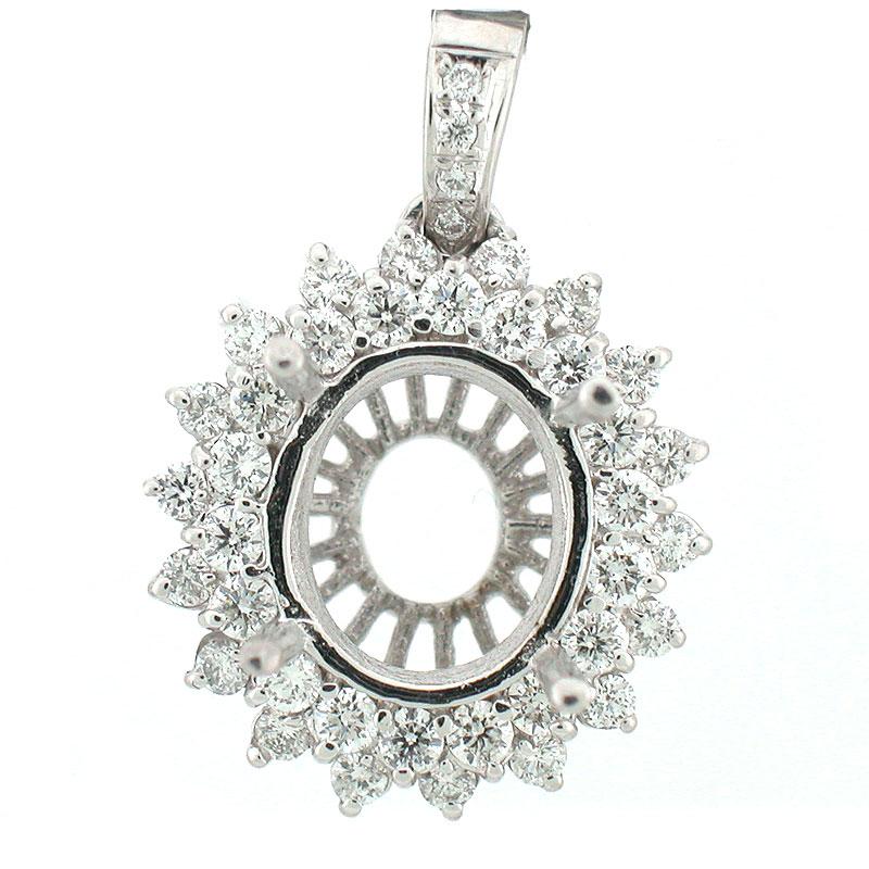 14k White Gold Diamond Pendant Setting 1.30 CTS Princess Diana ...