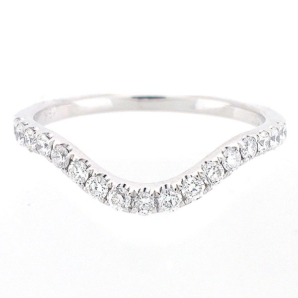 14k White Gold Curved Diamond Wedding Ring 0 51 Cts Wavy Band Ebay