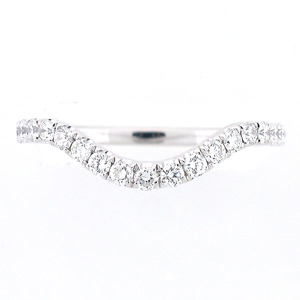 18k White Gold Curved Diamond Wedding Ring 0 51 Cts Wavy Band Ebay