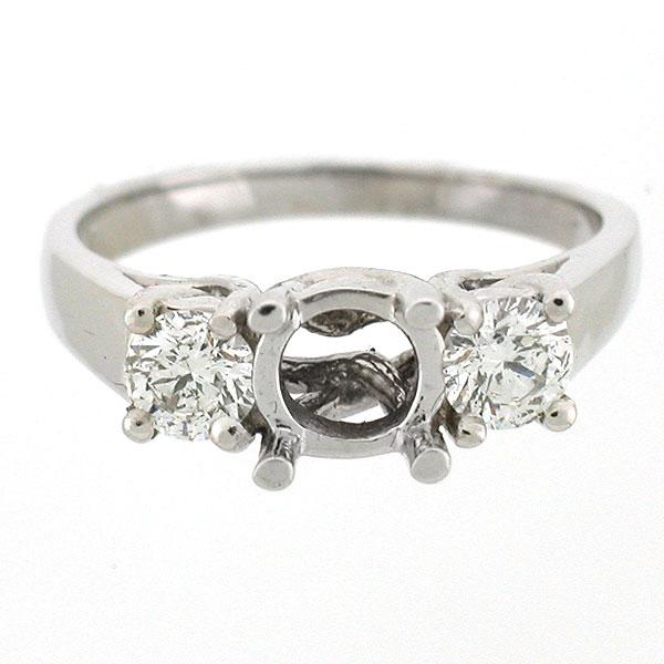 14k White Gold Semi Mount Antique Style Diamond Ring