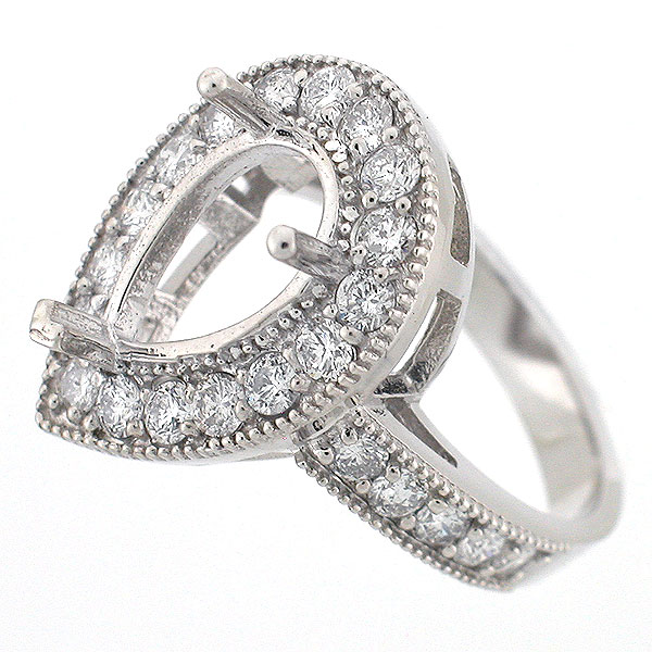 Halo Diamond Ring Setting Pear Shaped Mounting Click Here To Watch This Item